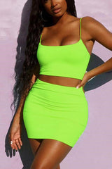 Two Piece Solid Color Slip Dress Set