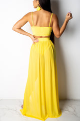 3 Colors Sexy Solid Color Chiffon Two-piece Set