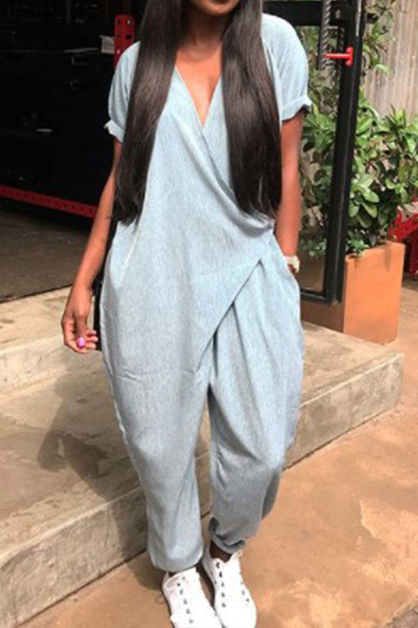 Modishshe Fashion Short Sleeve Causal Jumpsuits