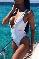 Modishshe Deep V Solid One-piece Swimwear