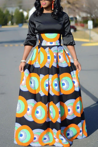 Modishshe Circle Print Swing Skirt Dress