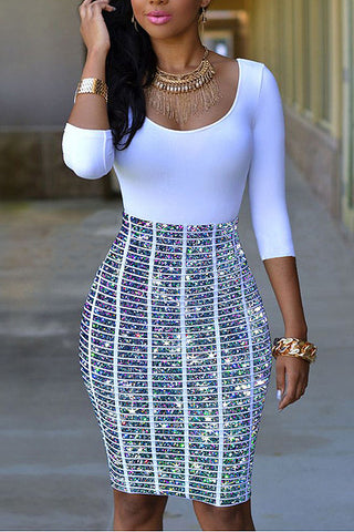 Modishshe Round Neck Bodycon Print Dress