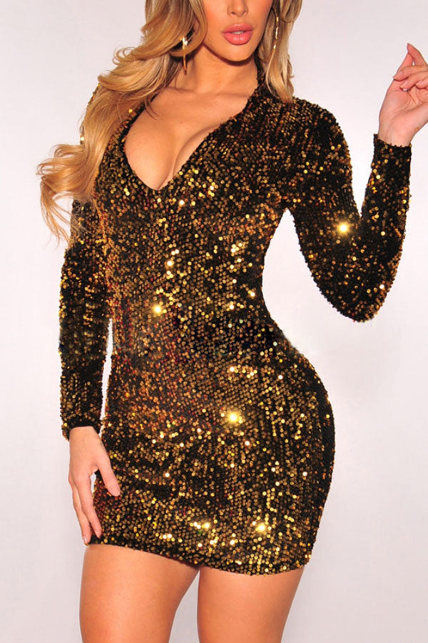Modishshe Long Sleeved Sequined Bodycon Party Dress