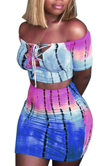 Modishshe Fashion Print Sexy Dress Two-Piece Set
