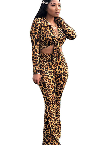 Leopard Print Front Strappy Two Piece Set