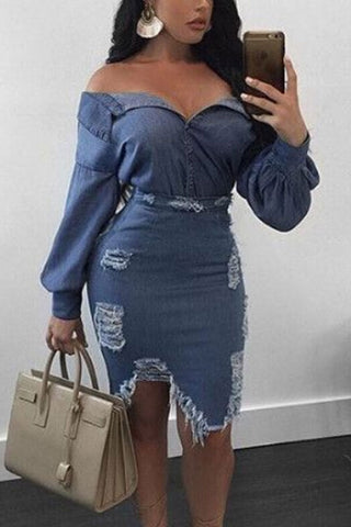 Modishshe Long Sleeved Ripped Denim Dress