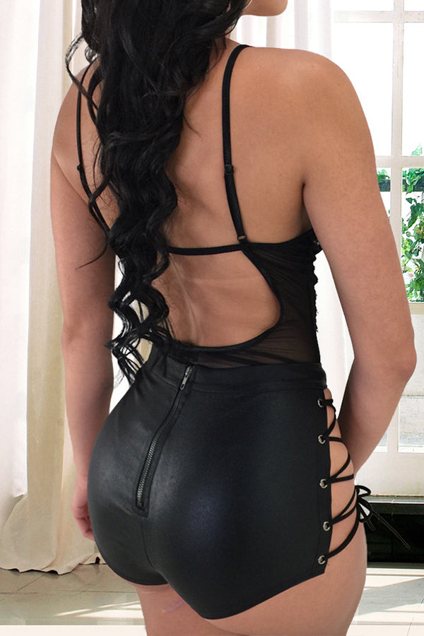 Modishshe Sexy Semi Sheer Leather Underwear