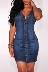 Modishshe Sleeveless Bodycon Short Denim Dress