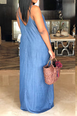 Modishshe Spaghetti Strap Maxi Denim Dress