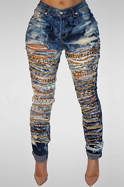 Modishshe High Waist Chain Decorative Ripped Jeans