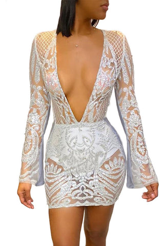 Sexy Sequins Deep V Neck Dress