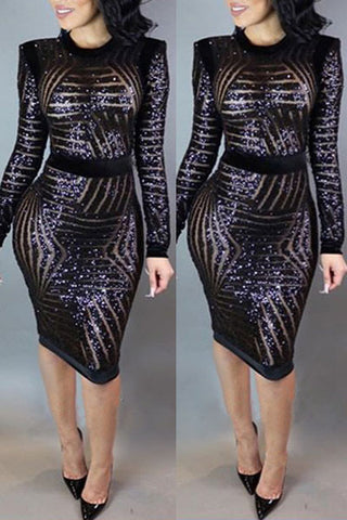 Modishshe Long Sleeve Sequinsed Black Midi Dress