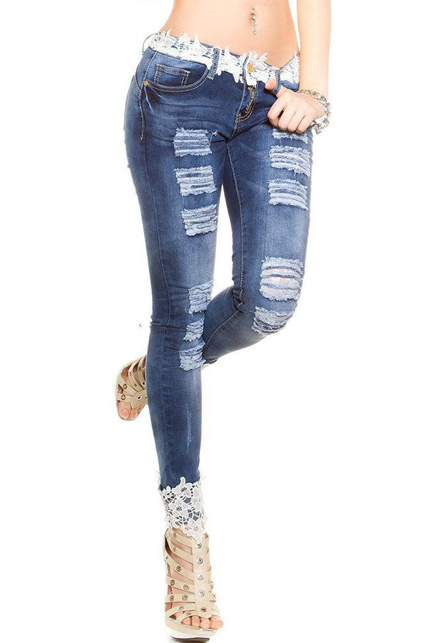 Modishshe Ripped Denim Pocket Lace Jeans