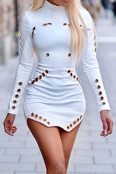 Modishshe Choker Long Sleeved White Short Dress