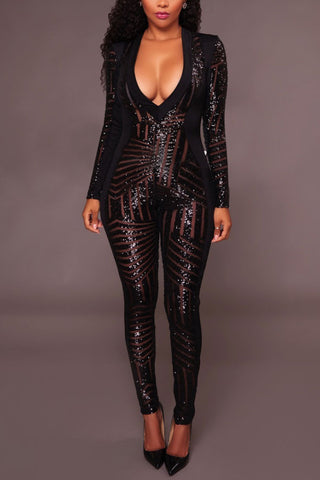 Modishshe Long Sleeved Sexy Sequined Jumpsuit