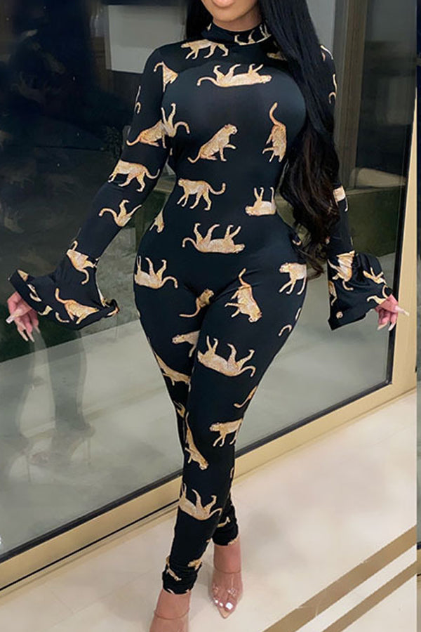 Fashion Print Backless Long Sleeve Jumpsuit