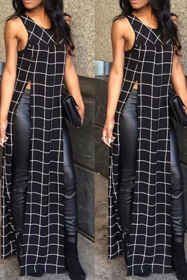 Modishshe Double Slit Checks Dress