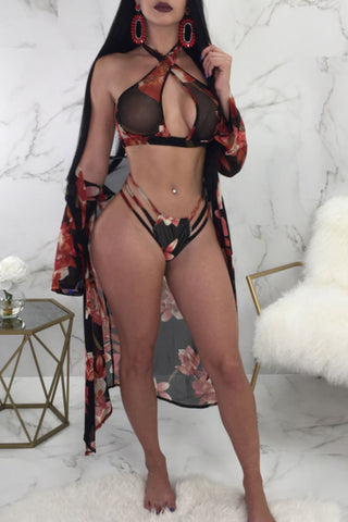 Modishshe Printing Sexy Bikini Set + Cover-up