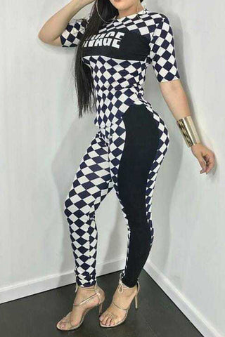 Modishshe Checkerboard Letter Print Bodycon Jumpsuits