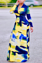 Modishshe Long Sleeve Print Maxi Dress