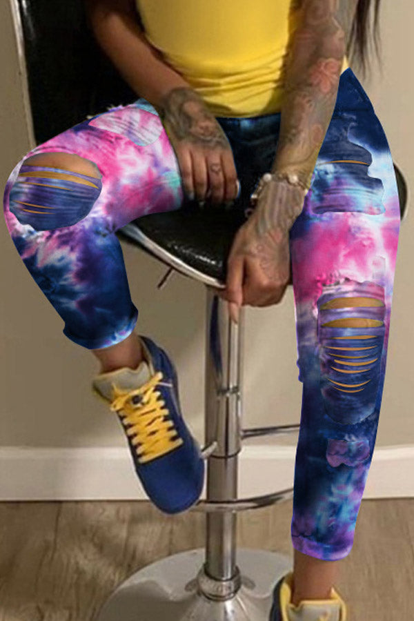 Fashion Broken Hole Tie-dye Print Casual Trousers