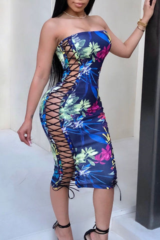 Modishshe Lace Up Printed Mini Dress