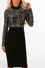 Modishshe Lace Splicing Long Sleeves Party Dress