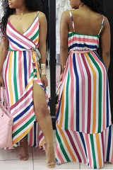 Modishshe Splicing Striped Cami Dresses