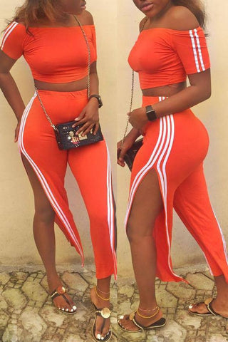 Modishshe Striped Side Slit Orange Two-piece Set