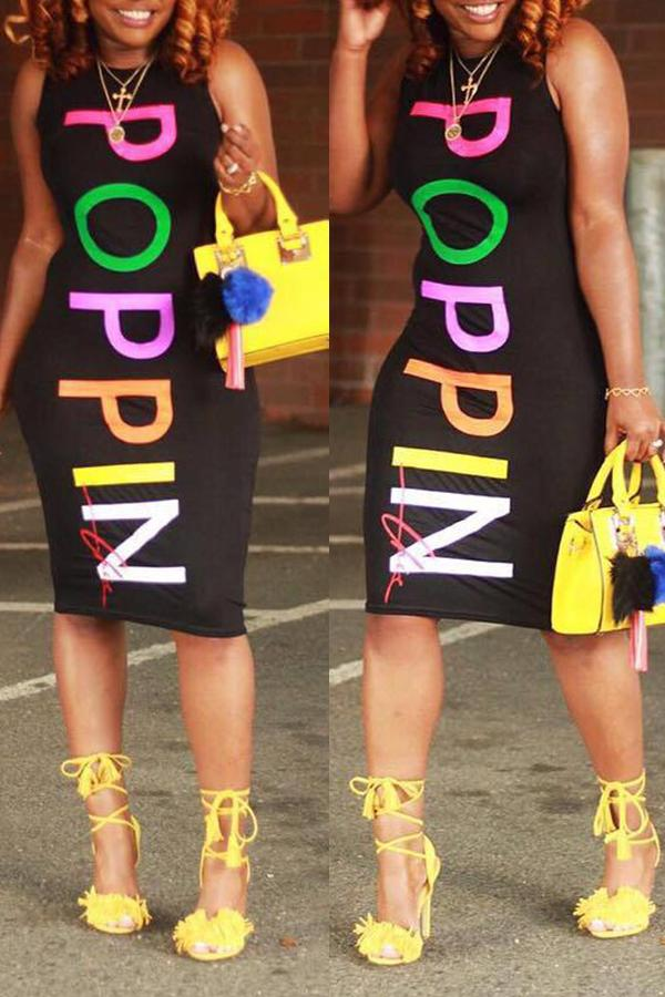 Modishshe Letters Printed Knee Length Dress