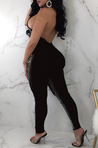 Modishshe Hot Drilling Backless See-through Jumpsuit