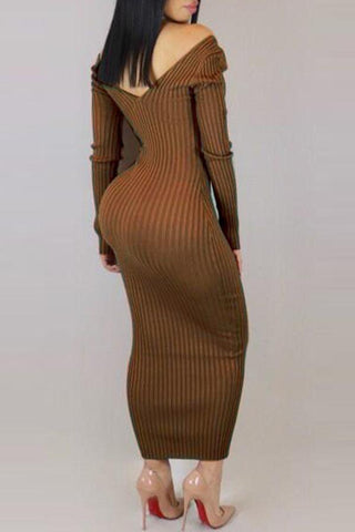 Modishshe Long Sleeve Slim Ankle Length Dress
