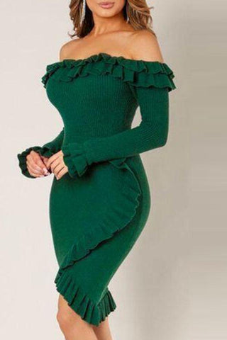 Modishshe Flounce Green Knee Length Dress