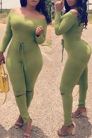Modishshe Dew Shoulder Skinny Green Jumpsuit