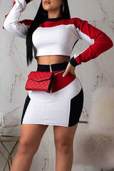 Modishshe Casual Patchwork Two-Piece Skirt Set