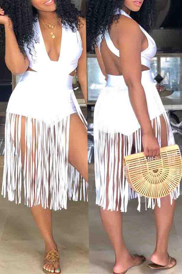 Solid Tassel Design One-piece Swimwear