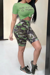 Modishshe Casual Camouflage Printed Two-Piece Shorts Set