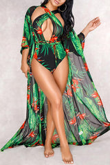 Modishshe Casual Flower Print Swimwear(With Cover-Ups)
