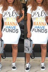 Modishshe Casual Letters Printed Knee Dress