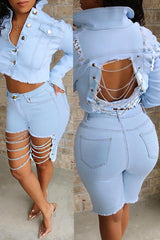 Modishshe Casual Hollow-Out Blue Jeans