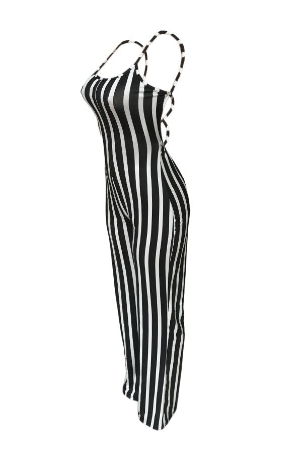 Modishshe Sexy Striped Lace-Up Hollow-Out Jumpsuit