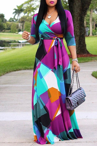 Modishshe Color Block Patchwork V-Neck Print Maxi Dress