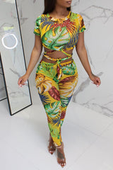 Bohemian Printed Lace-Up Hollow-Out Two-Piece Pants Set