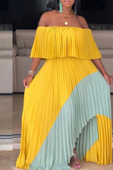 Off The Shoulder Color Block Maxi Dress
