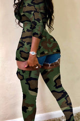 Sexy Camouflage Printed Two-piece Pants Set