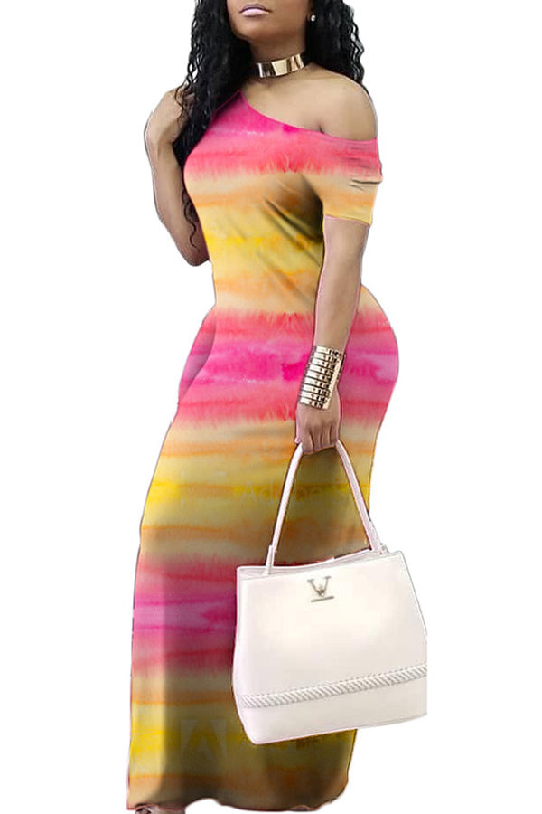 Fashion Print Short Sleeve Maxi Dress