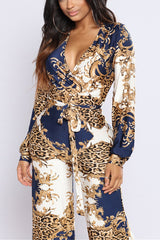 Deep V Neck Sexy Print Rompers
