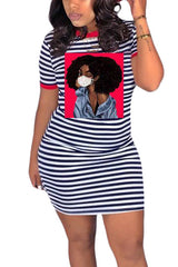 Fashion Casual Stripe Avatar Print Dress