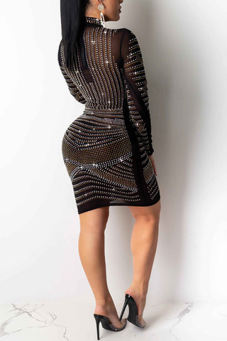 Mock Collar Rhinestone Decoration See-through Skinny Midi Dress