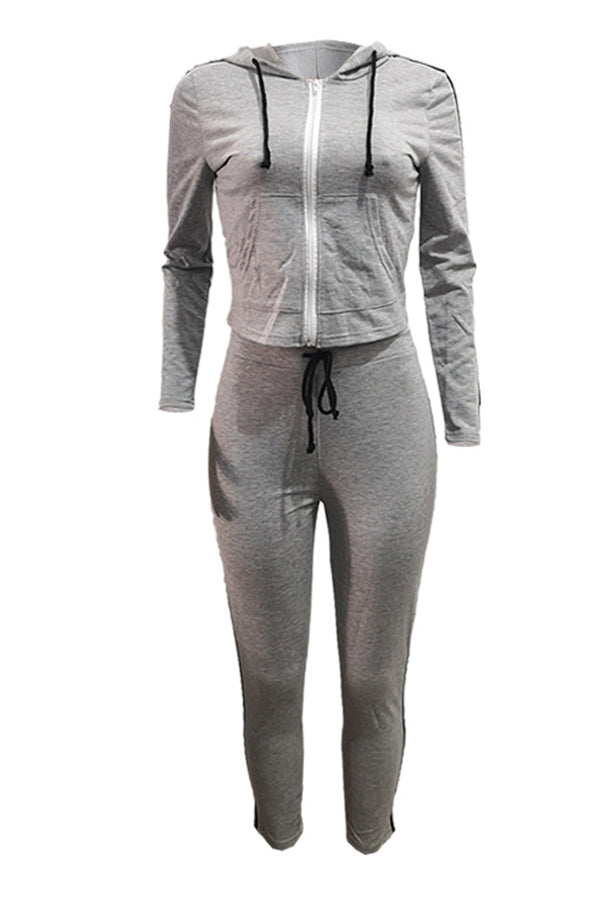 Solid Color Hooded Sports Two-piece Set